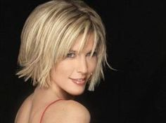 Blonde Short Hairstyles for Women-This lovely blonde flip out bob is very attractive and gorgeous. It is characterized by those fine hair strands which are quite awesome to look at. The choice of a flip out bob cut is fitting enough for this kind of hair texture. Likewise, the addition of layers at the side adds more volume to this very fine hair. by natalia