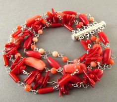 Multi Strand Coral Sterling Silver Wire Wrapped by SurfAndSand, $225.00