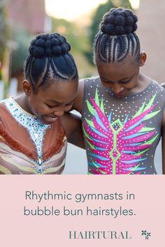 Hairtural bubble bun for our rhythmic gymnasts. Natural Hair Salons, Natural Hair Styles, Gymnasts, Girl Hairstyles, Bubble, Braids, Dreadlocks, Girls, Beauty