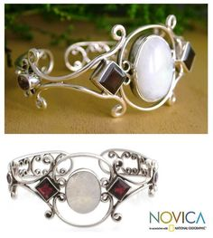 Garnet cuff bracelet was designed by Neeru Goel Cuff bracelet features sterling arabesques of exceptional graceHandmade jewelry features moonstone, garnet and amethyst