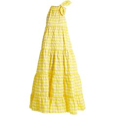 Marques'Almeida Halterneck gathered gingham maxi dress ($687) ❤ liked on Polyvore featuring dresses, yellow, halter top, yellow halter dress, tie-dye maxi dresses, yellow halter top and ruched maxi dress