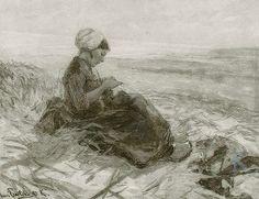 Hans von Bartels Breiend meisje in de duinen bij Katwijk, 1897 #ZuidHolland #Katwijk