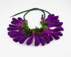 Felted Collar Purple Collar felt Necklace VIPER'S BUGLOSS purple lilac art jewerly nunofelt Nuno felt collar Art deco silk Fiber Art boho
