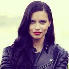 Love the red lipstick on Adriana Lima