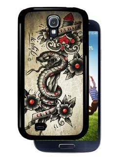 """""""Don't Tread On Me"""" Snake and Dagger - Black Samsung Galaxy S4 Dual Protective Durable Case by Inked Cases, http://www.amazon.com/dp/B00DY76QMW/ref=cm_sw_r_pi_dp_we9Gsb05TV7DS"""
