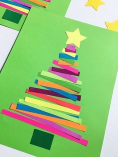 ▷ 1001 + Christmas ideas to tinker with children- ▷ 1001 + Ideen an Weihnachten basteln mit Kindern Christmas tree made of colorful stripes, making Christmas cards with children - Christmas Cards To Make, Christmas Crafts For Kids, Simple Christmas, Kids Christmas, Holiday Crafts, Christmas Decorations, Kindergarten Christmas Crafts, Handmade Christmas, Diy Crafts To Do