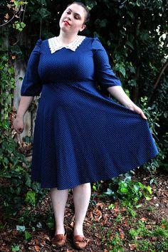 Plus Size  Vintage Navy & White Polka Dot Swing by TheCurvyElle, $45.00