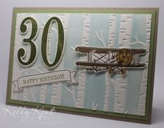 30th Birthday Card - Large Number Framelits Number of Years stamp set & Sky Is The Limit SAB stamp set. Kelly Kent - mypapercraftjourney.com.