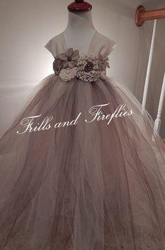 Flower Girl Dress Tutu Dress with Burlap an by FrillsandFireflies, $55.00