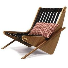 Neutra Boomerang chair & typographic pillow by House Industries