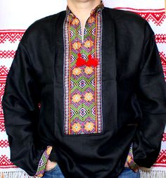 New Ukrainian HAND made Embroidered Men's Black linen shirt Vyshyvanka Kolosok gypsy dress Easter Gift idea by Rushnychok on Etsy https://www.etsy.com/listing/259545519/new-ukrainian-hand-made-embroidered-mens