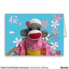 Sakura Sock Monkey Greeting Card