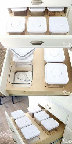 Organization: Creative Kitchen Storage Ideas For Consumables. Love this in my kitchen. Easy to add to kitchen drawers! Design Dazzle #Modernkitchenorganization