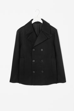 Raw-edge pea coat