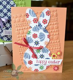 Stitched Bunnies with Stampin' Up! Happiness Blooms designer paper and stitched shapes framelits Diy Easter Cards, Easter Crafts, Vintage Birthday Cards, Vintage Cards, Stamping Up Cards, Kids Cards, Scrapbook Cards, Making Ideas, Holiday Cards