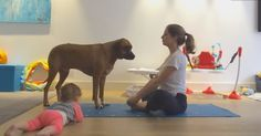 Mom Lays Out Yoga Mat But Seconds Into Her Routine Shes Interrupted By A Baby And A Dog