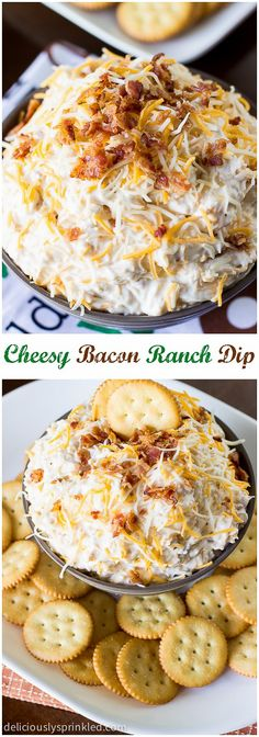 A recipe for Cheesy Bacon Ranch Dip. A perfect football party dip that everyone will love. #recipe #ranch #dip