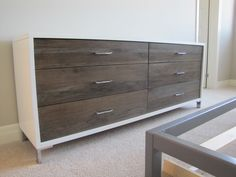 custom maple and hickory drawer front dresser for a model home