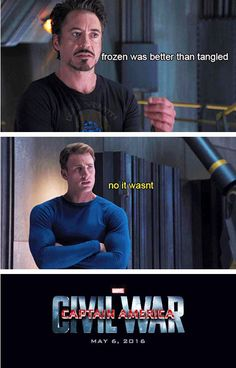 Civil War meme - Frozen vs Tangled. And yet again, Cap and I are totally on the same page :)