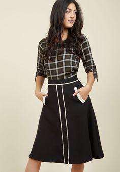 Roving Reporter Midi Skirt in Black, @ModCloth