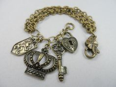 Antique Brass Charm Bracelet Fit for a Queen with Tiara, Shield, Lock and Key - 7.5 inch wrist
