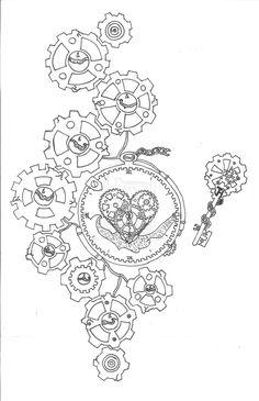 steampunk key line art Steampunk Tattoo Design, Steampunk Drawing, Steampunk Artwork, Key Tattoos, Body Art Tattoos, Tattoo Drawings, Lock Tattoo, Gear Tattoo, Steampunk Wings