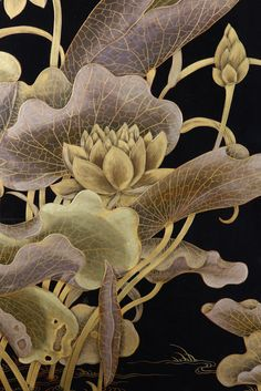 """indigodreams: """" artemisdreaming: Detail of a panel screen from Yunguanglou Zitan, lacquer, jade, and gold paint Each panel 84 x 28 x 2 ½ inches x x 6 cm) Palace Museum, Beijing """" Botanical Art, Botanical Illustration, Illustration Art, Illustrations, Garden Site, Gold Paint, Chinese Art, Indian Art, Pattern Wallpaper"""