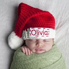 Personalized Red and White Christmas Stocking Beanie with Pom Pom - White  and Red- Gender Neutral icon. Melondipity Baby Hats 1c0b74a2fb00