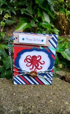 Stampin Up octopus card from sea street stamp set. birthday card.