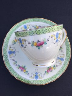 Sutherland Vintage Teacup & Saucer, Green Border Fruit Garland Tea Cup and Saucer, English China, Birthday Gift, Tea Party, 1940's