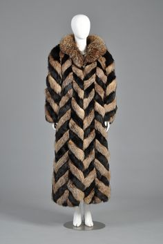Christian Dior Full Length Chevron Fox Fur Coat | BUSTOWN MODERN