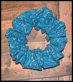 Aqua/Teal Bandanna Hair Scrunchie, Bandana Series Ponytail Holder, Fun Summer Colored Hair Tie by Handmadecrafter on Etsy