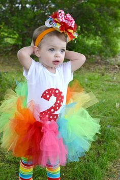 Circus Birthday Onesie -- Over the Top Hair Bow -- Rainbow Leg Warmers -- 2nd Birthday Outfit on Etsy, $42.50