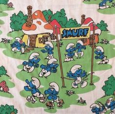 Smurfs Twin Flat Sheet Fabric Cutters Latex Village Band Boat Sports Peyo by TheDuchessOfHazard on Etsy Twin Bed Sheets, Twin Comforter Sets, Smurf Village, Rainbow Bedding, Unicorn Bed Set, Hasbro My Little Pony, Fabric Cutter, Smurfette, Minnie Mouse Bow