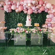 Ideas For Birthday Party Ideas Pink Backdrops Balloon Arch, Balloon Garland, Balloon Decorations, Birthday Decorations, Wedding Decorations, Deco Baby Shower, Bridal Shower, Baby Party, Baby Shower Parties