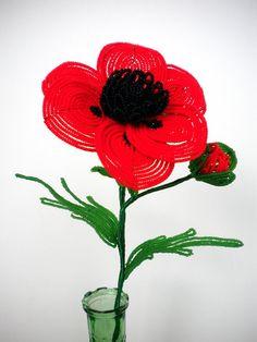 Oriental Poppy French Beaded Flower