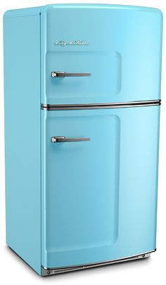 Big Chill's Retro Refrigerator has a stamped metal body, authentic chrome trim, pivoting handle, temperature management system and is energy efficient. Available in over 200 colors.