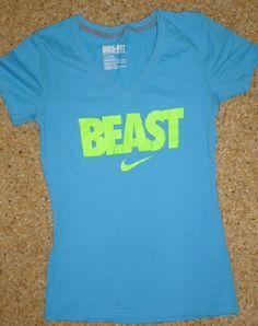 Womens NIKE DRI-FIT T-Shirt BEAST Blue Slim Fit Athletic XS #Nike #ShirtsTops