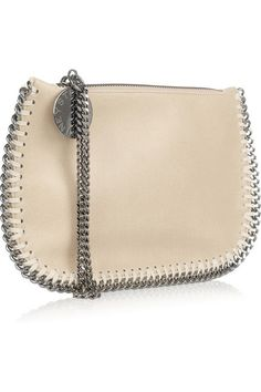 Chic Leather Wristlet Bag by Stella McCartney: Falabella faux leather wristlet bag by Stella McCartney from front side view