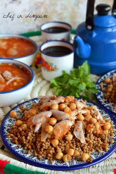 "Maftool ""Palestinian couscous"" with  chickpea and tomato broth"