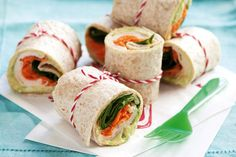 Chicken And Salad Wraps by Taste. Fill your picnic basket with these transportable chicken salad wraps and make the most of the outdoors! Roll Ups Recipes, Wrap Recipes, Lunch Recipes, Cooking Recipes, Healthy Recipes, Healthy Wraps, Delicious Recipes, French Toast Roll Ups, Cinnamon Roll French Toast