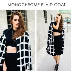 SALE! MONOCHROME PLAID SWEATER COAT Black and white plaid open front sweater coat. Style with a white dress and black heels to look effortlessly timeless. Pictures are showing a S\M  Black and White Coat Trench Open front Plaid 100% Acrylic Style Link Miami Jackets & Coats