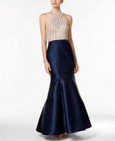 Xscape Beaded Open-Back Mermaid Halter Gown - Blue 4