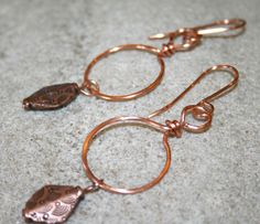 Copper Hoop Earrings  Hammered Circle Earrings  by 2012BellaVida, $18.00