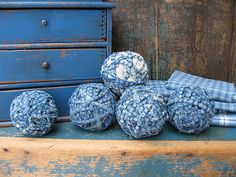 5 Country Blue and Cream Rag Balls made from Antique Fabric Country Blue, Country Decor, Soldier Blue, Autumn Inspiration, Garden Inspiration, Willow Green, Prim Decor, Pewter Grey, Red Barns