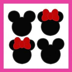 Mickey And Minnie Silhouette Heads Set Of 2 Machine Applique Designs