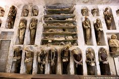 Palermo, Sicily. A total of 8,000 mummies are housed in niches along the walls of the Capuchin Catacombs.
