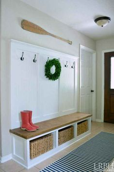 Insane Bring organization and beauty to your foyer with a DIY entryway mudroom! The post Bring organization and beauty to your foyer with a DIY entryway mudroom!… appeared first on Home Decor Designs 2018 . Mudroom Cubbies, Bench Mudroom, Garage Bench, Foyer Bench, Entry Bench Diy, Foyer Wall Decor, Hall Tree Bench, Bench Decor, Entryway Organization
