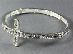 Rhinestone Cross Bracelet Silver  http://www.appealingboutique.com/