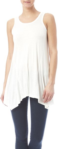 b523cff4b877a Sleeveless Summer Top By Ellie  amp  Kate  27 Scoop neck tank with an  asymmetrical hemline